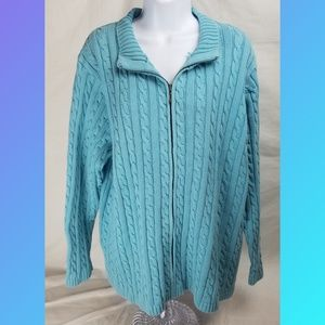 L.L. Bean Sweater Blue Cable Knit Cardigan Sz 3X